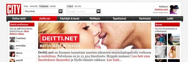 Deitti.net (City.fi) sinkkutreffien etusivu